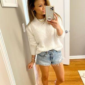 Fuzzy Cozy White Sweater